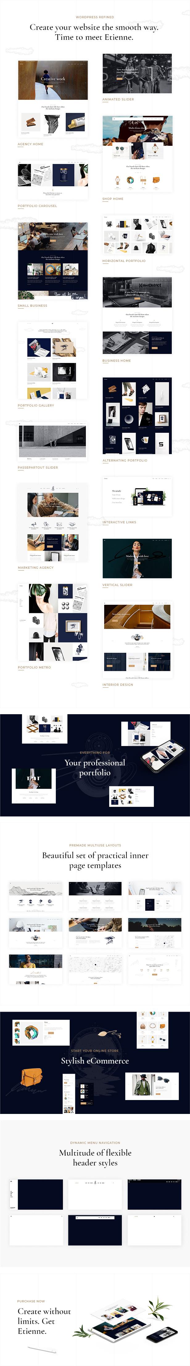 Etienne - Refined Multipurpose WordPress Theme - 1